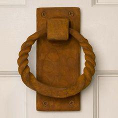 Twisted Ring Iron Door Knocker - Rust