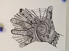 Zentangle hand before color