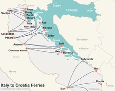 Map of Croatian Islands and Ferries - Croatia Ferries Dubrovnik Croatia, Croatia Travel, Italy Travel, Zagreb Croatia, Makarska Croatia, Croatia Itinerary, Italy Trip, Travel Maps, Travel Posters