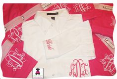 our gorgeous men's oversized shirts for the bridal party....stunning hot pink and white featuring our engraved monogram www.misslucysmonograms.com Bridal Party Getting Ready, Oversized Shirt, Bridal Showers, Embroidery Applique, Gorgeous Men, Appliques, Hot Pink, Polo Ralph Lauren, Monogram