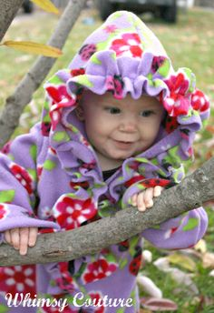 Adorable fleece jacket sewing pattern with ruffle option! You can also omit the hood or make it detachable! So many option!