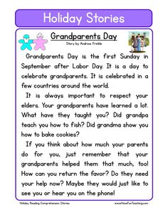 This Reading Comprehension Worksheet - Grandparents Day is for teaching reading comprehension. Use this reading comprehension story to teach reading comprehension.