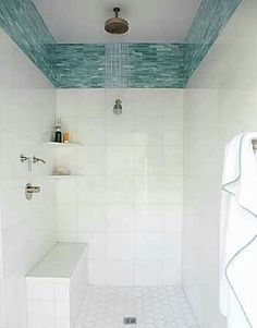 Blue Glass Tile Border In Shower Is An Alternative To The Typical Accent  Strip. Love This But With Marble Tile Or Sand Colored Tile.