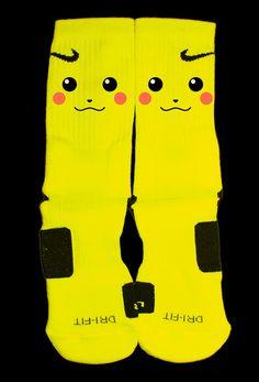 Pikachu Custom Nike Elite Socks by KristinAnnBoutique on Etsy