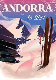'Andorra vintage Ski poster ' Poster by vectorwebstore Malta, Tatuaje Art Nouveau, Andorra Ski, Monaco, Vintage Ski Posters, Look Vintage, Vacation Pictures, France, Canvas Prints