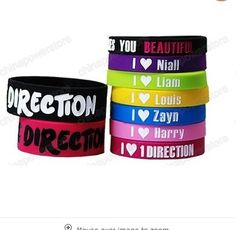 UK 1 D One Direction Rubber Silicon Wrist Band Bracelet I Love 1D Fans Must have