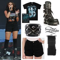 Jesy Nelson performed at Alton Towers Live with her bandmates last week wearing a Three Days Grace tee, a pair of American Apparel Stretch Bull Denim High-Waist Cuff Short ($58.00), a pair of Topshop Black Rib Over Knee Socks ($12.00), her Impero London Hera Cuff ($272.40) and her New Rock World Bufalo Boots ($298.06). You can get similar tees from the Three Days Grace online store.