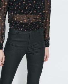 Image 5 of HIGH WAIST COATED TROUSERS from Zara