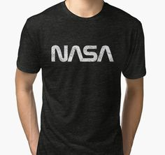 """NASA Vintage Emblem 1975-1992 - Silver Edition"" Tri-blend T-Shirts by Lidra | Redbubble"