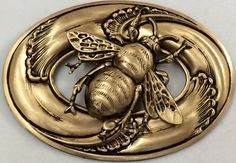 "EXTRA LARGE Stamped Brass ~Antique And Vintage Inspired~""BEE""~Button~2 1/2"" INCH"