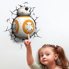 Keep your kids from being afraid of dark by installing this Star Wars BB-8 3D Night Light in their room. This little battery operated droid appears as if it broken through the wall to bring a little geeky lighting that destroy the darkness!  http://www.ultimatestock.co.uk/product/star-wars-bb-8-3d-deco-light/