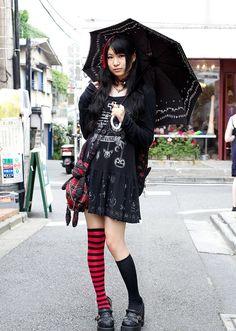 parasol girl with uneven socks...  -------- #japan #japanese #harajuku