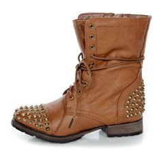 Georgia 28 Tan Studded Lace-Up Combat Boots $49 (3.255 RUB) ❤ liked on Polyvore featuring shoes, boots, ankle booties, botas, sapatos, zapatos, ankle boots, low heel ankle boots, slouch ankle boots and lace up booties