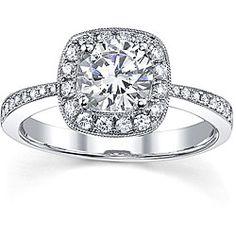 18k Gold 1 1/3ct Tdw Diamond Halo Engagement Ring