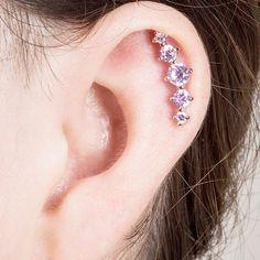 Crystal CZ Crescent 5 Gem Cartilage Piercing Earring