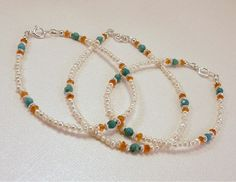 Custom Order Matching Turquoise Carnelian Pearl Sterling Silver Layering Bracelets by heldhighdesigns on Etsy
