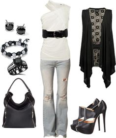 """""""White with Black"""" by sarah-jones-3 on Polyvore"""
