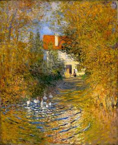 """""""Geese in the Brook,"""" by the incomparable Claude Monet (1874).  Exquisite color and detail!"""