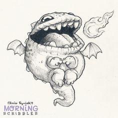 Cute creature art by Chris Ryniak Monster Sketch, Monster Drawing, Monster Art, Cute Monsters Drawings, Animal Drawings, Cute Drawings, Cartoon Sketches, Cartoon Art, Drawing Sketches