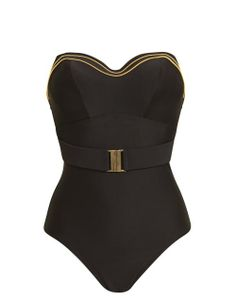 Sophina Britt Underwired Bandeau Belted Tummy Control Swimsuit in Black/Gold #SS14SWIM #BondGirlChic #figleaves
