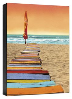 Orange Beach Walk Painting Print on Wrapped Canvas