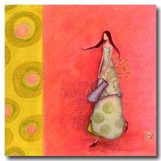 """Gaëlle Boissonard /""""Rond de Lune/"""" Mädchen mit Mond Postkarte Grußkarte rund"""