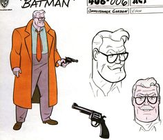 Commissioner Gordon's first design by Bruce Timm, made for the series' pilot short.