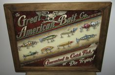 Framed Vintage Style Tin Sign, The Great American  Bait  Co. fishing sign, fishing lures, man cave, USA, garage decor, wall hanging