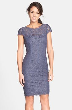 Adrianna Papell Seam Detail Lace Cocktail Dress at Nordstrom.com. Corsetry-inspired seam detailing sculpts a shapely silhouette for a richly hued lace cocktail dress topped with dainty cap sleeves and finished with scalloped edges for romantic appeal. A back V-neckline heightens the allure.