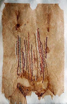 Trace of Falling Leaves | by Missouri Bend Studio (Patti Roberts-Pizzuto) hand embroidery on teabag mounted on Japanese paper