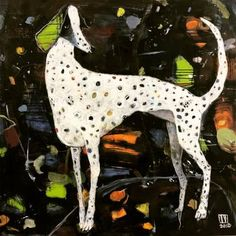 Original Dogs Painting by Ilya Volykhine Sun Painting, Oil Painting Abstract, Dog Paintings, Original Paintings, Friendship Paintings, Dog Artwork, Canvas Online, The Other Art Fair, Glitter Paint