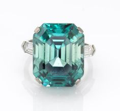 Wow. Just wow. HL. An art deco blue zircon and diamond ring, Marcus & Co.