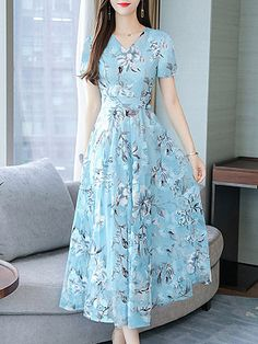 V Neck Floral Printed Maxi Dress - Fashion & Dresses Chiffon Maxi Dress, Maxi Dress With Sleeves, Floral Maxi Dress, Short Sleeve Dresses, Polka Dot Maxi Dresses, Cheap Maxi Dresses, Dresses Dresses, Dress Silhouette, Two Piece Dress