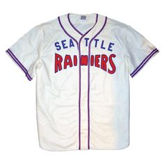A authentic reproduction of the Seattle Rainiers 1941 'Home' jersey, made by Ebbets Field Flannels. Basketball Scoreboard, Basketball Uniforms, Baseball Jerseys, Major League Baseball Teams, Baseball Equipment, American League, National League, Seattle, Shirts