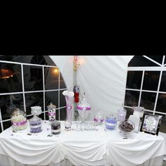 Love is Sweet! Purple Wedding Candy Buffet!  Http://www.kimscandybuffet.com