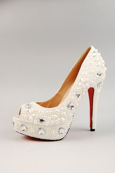 Simple Pearl & Sliver Crystal Wedding Shoes,Bridal Shoes,Party peep toe Shoes,white open-toed shoes. $249.00, via Etsy.
