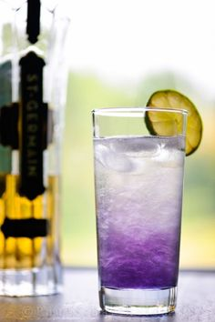 Stormy Morning: 1.5 oz Rathman Créme de Violette 1.5 oz St. Germain elderflower liqueur 1 oz fresh lime juice 4 oz Champagne Lime wedges to garnish