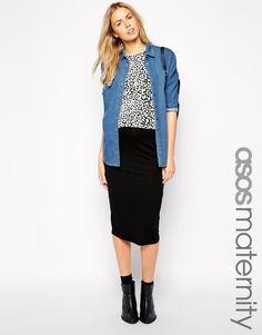ASOS Maternity | ASOS Maternity Midi Pencil Skirt in Jersey at ASOS