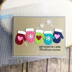 Sunny Studio Stamps Warm & Cozy Rainbow Embossed Mittens Card by Teri Anderson (using Cable Knit Embossing Folder) Christmas Card Crafts, Homemade Christmas Cards, Christmas Cards To Make, Homemade Cards, Cricut Christmas Cards, Chrismas Cards, Christmas Projects, Christmas Christmas, Christmas Lights