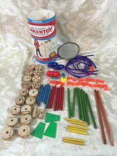 Classic Tinkertoy Construction Set Junior Builder Wood Pieces 2002 Hasbro #Hasbro