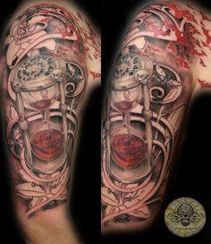 Blood clock script skulls lily - 40 Awesome Watch Tattoo Designs  <3 <3