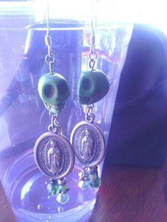 Green Howlite skull dangle earrings with by VelvetCalavera on Etsy,    by: Madeline Groves SOLD
