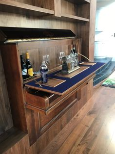 The cocktail bar from 100 year old salvaged upright piano Bed City, Piano Bar, Upright Piano, Liquor Cabinet, Cocktail, Storage, Places, Furniture, Design