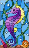 Illustration about Illustration in stained glass style with a fish seahorse on the background of water and algae. Illustration of drawing, background, seahorsen - 108029625 Stained Glass Quilt, Faux Stained Glass, Stained Glass Designs, Stained Glass Patterns, Glass Painting Designs, Illustration, Mosaic Glass, Mosaic Art, Painted Rocks