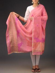 Pink Chanderi  Phool Patti Chikankari Embroidered Dupatta