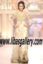 Pakistani style 360 Bridal fashion week 2015 Designer Tabassum Mughal Long Gown Dress with Tail Back Style Soho Road UK Lovely flowing wedding dress #TBCW2015 Check out this one from Bridal Wear 2015, Such a beautiful gown #wedding dress  www.libasgallery.com  Buy in the Untied States, Canada, UK, Europe, Middle East, Far East and Australian
