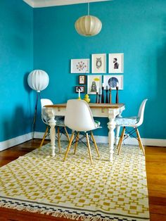 Blue walls & Ikea 'Alvine Ruta' rug