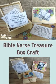 Would you like to encourage your kids to treasure God's Word in the their hearts? Help them make a beautiful Bible verse treasure box to store their favorite verses. This post includes three printable verses to get you started. Bible School Crafts, Bible Crafts For Kids, Vbs Crafts, Sunday School Crafts, Activities For Kids, Kids Bible, Church Crafts, Bible Lessons, Lessons For Kids