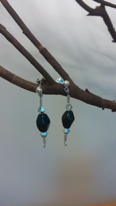 Hey, I found this really awesome Etsy listing at https://www.etsy.com/listing/173559694/black-and-silver-beaded-earrings