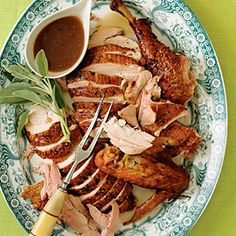 Wine-Smoked Turkey. Olive oil, sage, marjoram, onion. Golden Delicious apples. Includes tip on how to make wine-infused chips for smoking the meat